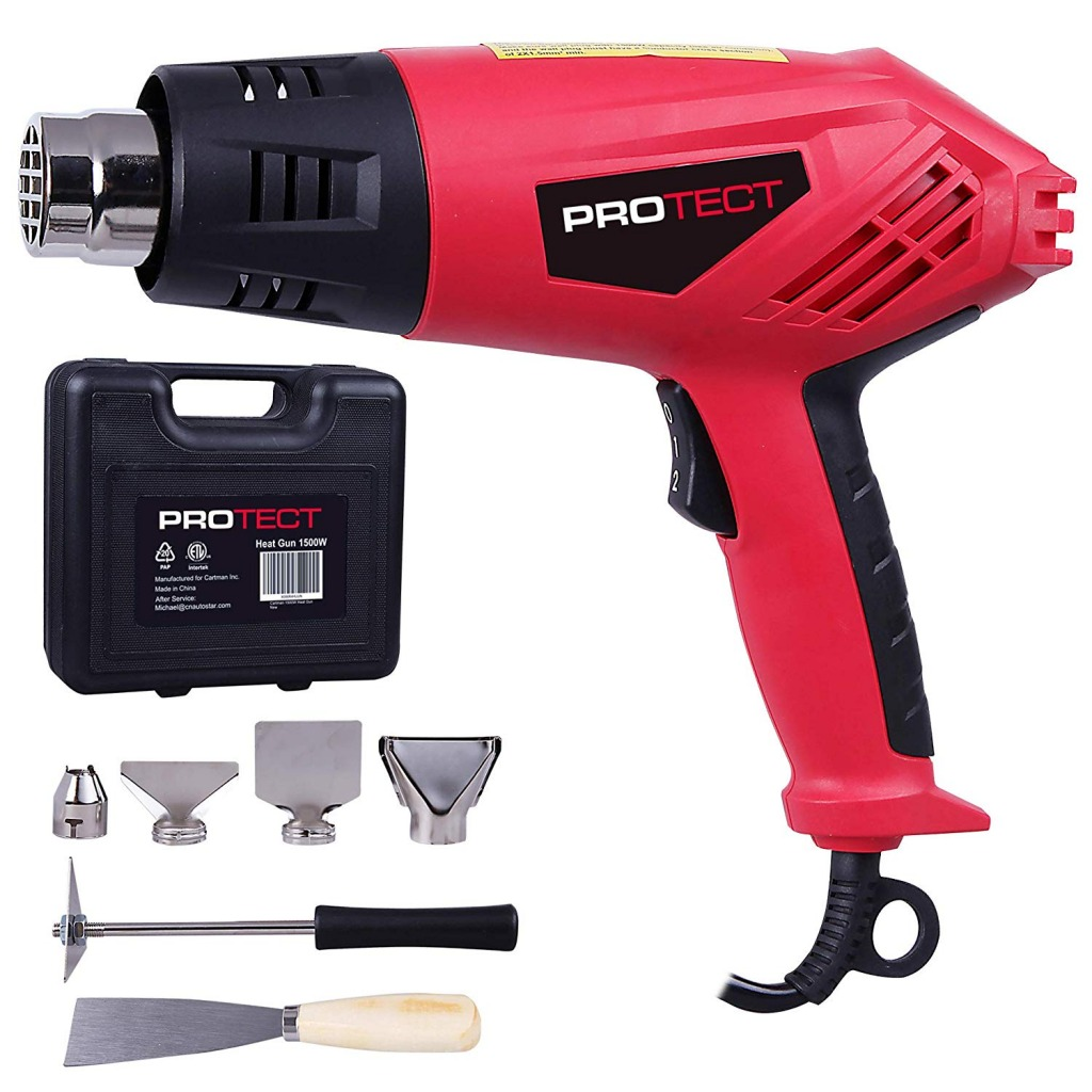 ProTect 1500W Dual Temperature 9-Piece 2-Speed Heat Gun Kit