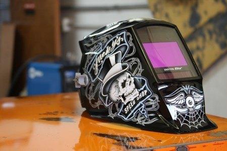 welding helmet on a table